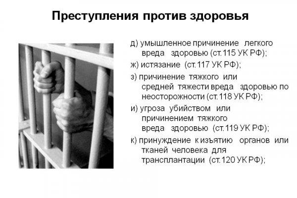 Уголовный кодекс - статья 119 УК РФ: угроза жизни и здоровью человека