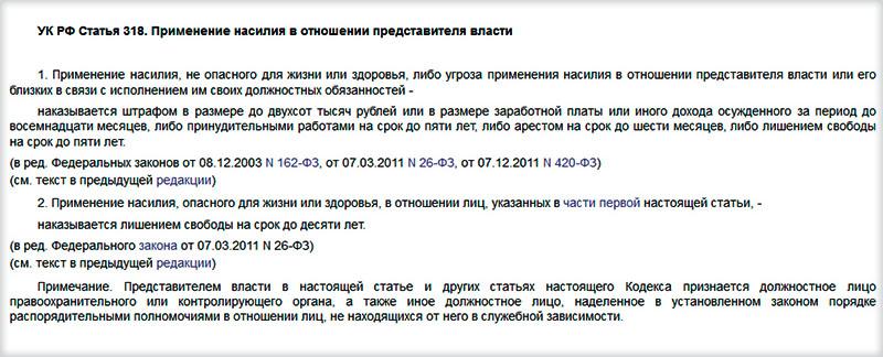УК РФ Статья 318