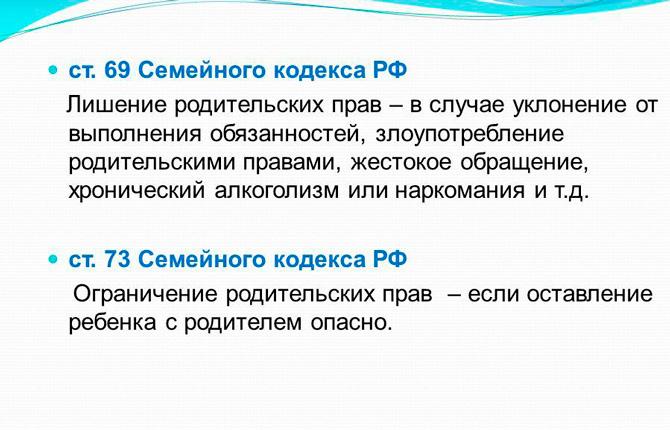 Статьи Семейного кодекса РФ
