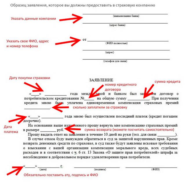 Образец заявления для страховой компании